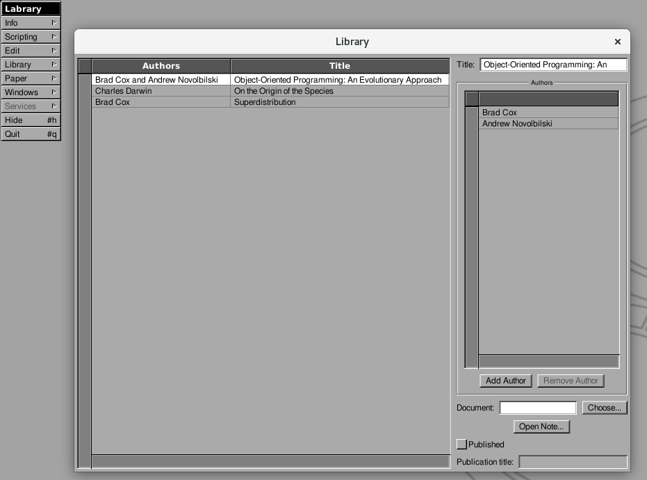 "A screenshot of the ill-fated ""Library"" window in Labrary's GNUstep prototype."