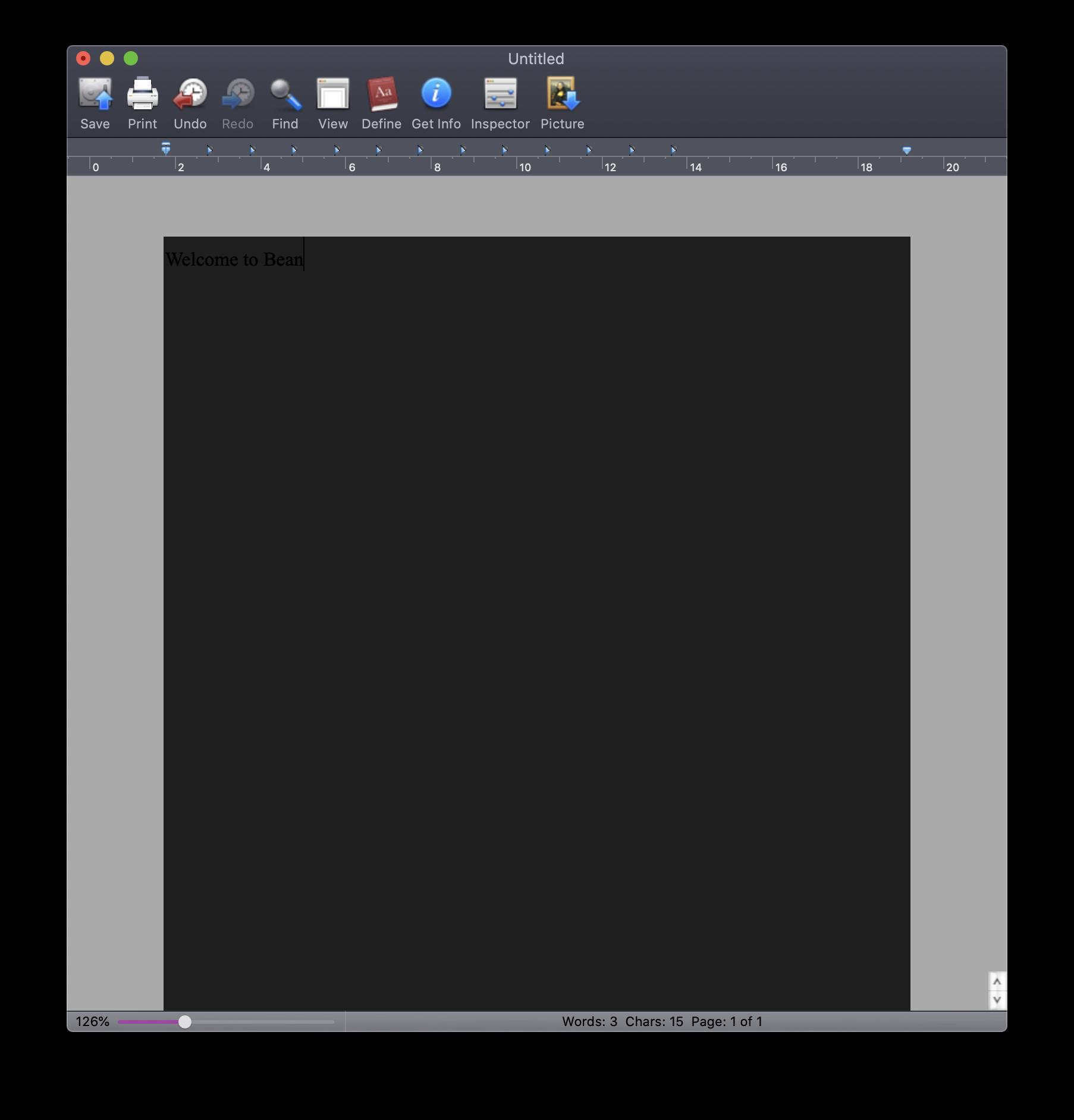Bean 2.4.5 on macOS Catalina in dark mode
